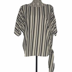 MICHAEL Michael Kors Grey Black White Striped Top